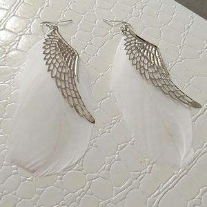 Feather Long Silver white angel feathered earrings